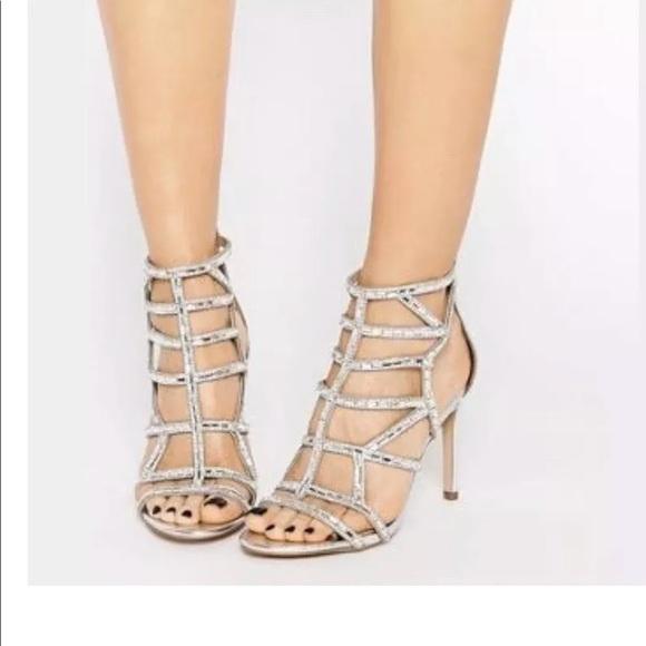 bcd9d0d28310f3 Aldo Norta caged embellished sparkly silver heels